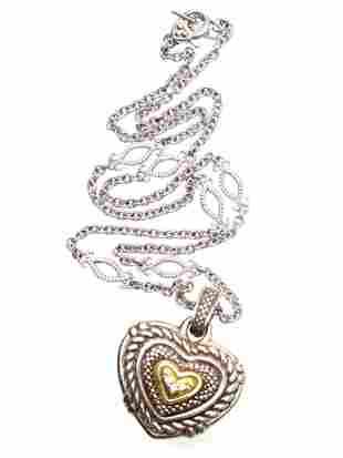 A JUDITH RIPKA SILVER GOLD DIAMOND HEART NECKLACE