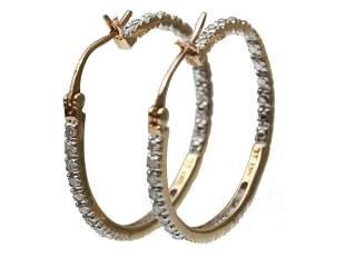 VINTAGE JEWELRY 10K GOLD HOOP EARRINGS W DIAMONDS