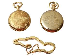 A LOT OF TWO VINTAGE POCKET WATCHES AND BRACELET