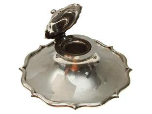 AN ANTIQUE ENGLISH STERLING SILVER INKWELL