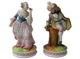 PAIR OF ANTIQUE FRENCH PORCELAIN COUPLE FIGURINES