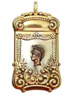 AN ANTIQUE GILT SILVER MATCH HOLDER W. DIAMONDS