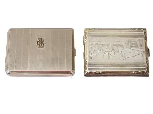 A LOT OF TWO VINTAGE CIGARETTE CASES EARLY 20TH C