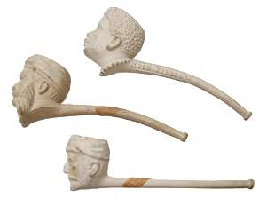A LOT OF THREE ANTIQUE CLAY SMOKING PIPES