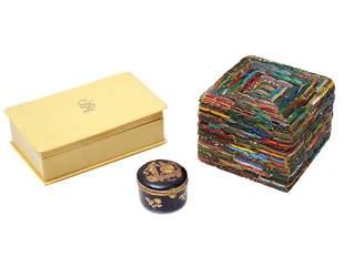 SET OF THREE VINTAGE DECORATIVE JEWELRY BOXES