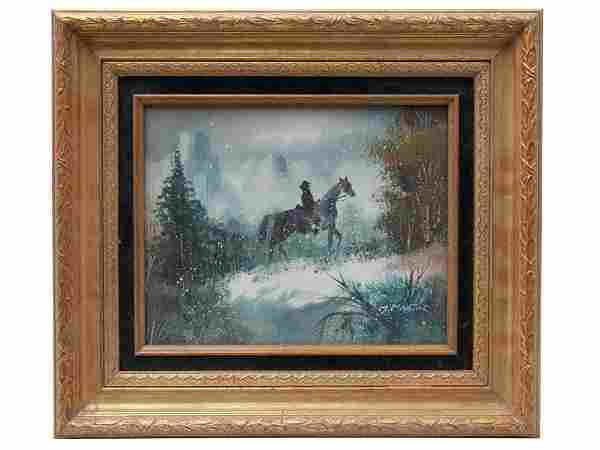 OIL PAINTING MAN RIDING HORSE SIGNED BY M MARTIN