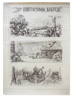 A SOVIET CHARCOAL PAINTING MAQUETTE FOR POSTER