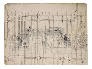 A FRENCH INK PAINTING HOUSE VIEW BY RAOUL DUFY