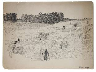FRENCH INK PAINTING LANDSCAPE VIEW BY RAOUL DUFY