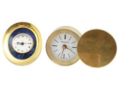 PAIR OF VINTAGE CARTIER TIFFANY & CO TRAVEL CLOCK