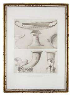 AN ANTIQUE FRENCH ETCHING, FRAGMENTS ANTIQUES