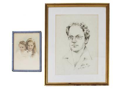 PAIR OF VINTAGE PORTRAITS PAINTINGS MAN TWO GIRLS