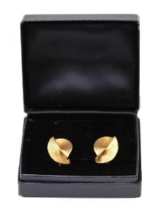A TIFFANY & CO 14K GOLD SWIRL CLIP EARRINGS