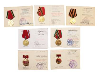 A DOCUMENTED GROUP OF SOVIET MEDALS AND AWARDS