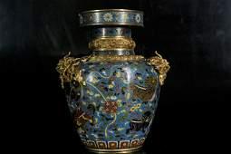A gilt-bronze and cloisonne enamel jar