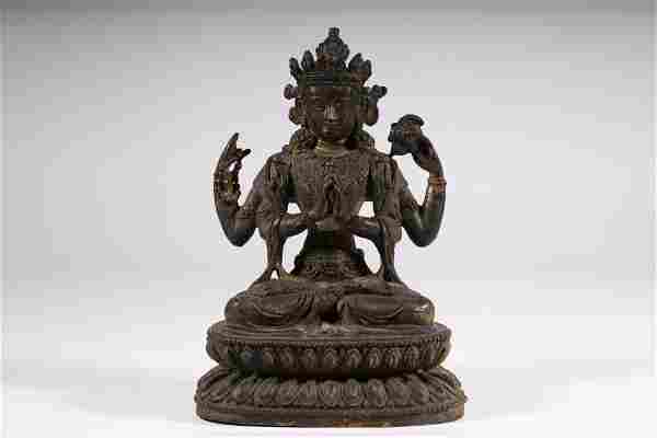A fine bronze figure of buddha
