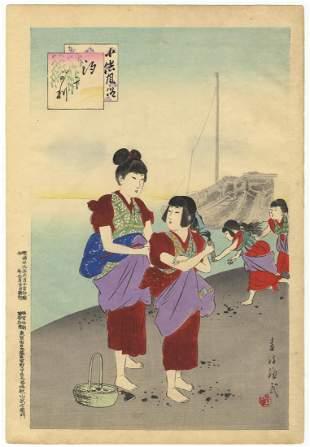 Shuntei Miyagawa, Children, Clam Digging, Daily Life