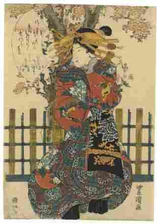Toyokuni II Utagawa, Beauty, Courtesan, Edo