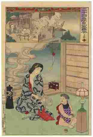 Chikanobu Yoshu, Beauty, Child, Mother and Child