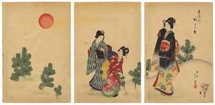 Shodo Yasuda, Beauties, Garden, Triptych, Meiji