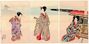 Chikanobu Yoshu, Beauties, Palanquin, Inner Palace