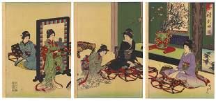 Chikanobu Toyohara, Beauties, New Year
