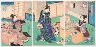 Kunisada I Utagawa, Beauties, Battledore Rackets