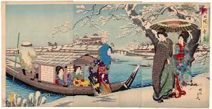 Chikanobu Yoshu, Beauties, Snow Scene, Sumida Bank