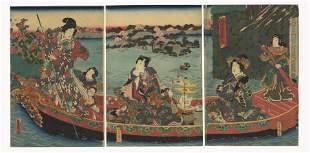 Toyokuni III Utagawa, Beauties, Boat, Green Tea