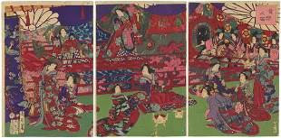 Chikanobu Toyohara, Beauties, Song and Dance