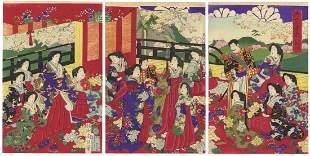 Chikanobu Yoshu, Beauties, Meiji Emperor, Cherry