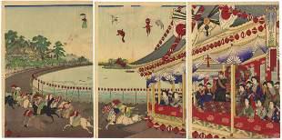 Chikanobu Yoshu, Meiji Emperor, Ueno Race Course