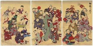 Chikanobu Toyohara, Children Playing with Toys