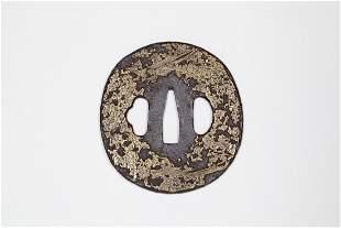 Japanese Brass inlaid iron tsuba Sword guard