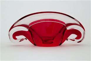 Clear and Red Ashtray