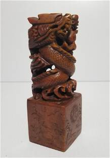 Hand Carved Dragons on Chinese Natural Stone