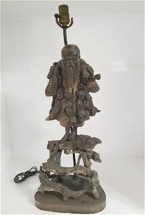 Antique Hand Carved Wood Chinese Lamp