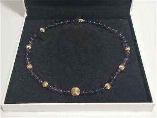 Beautiful 14KT Gold Purple Ball Necklace
