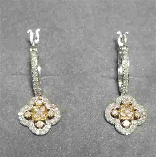 Pretty 14 KT White Gold Diamond Earrings