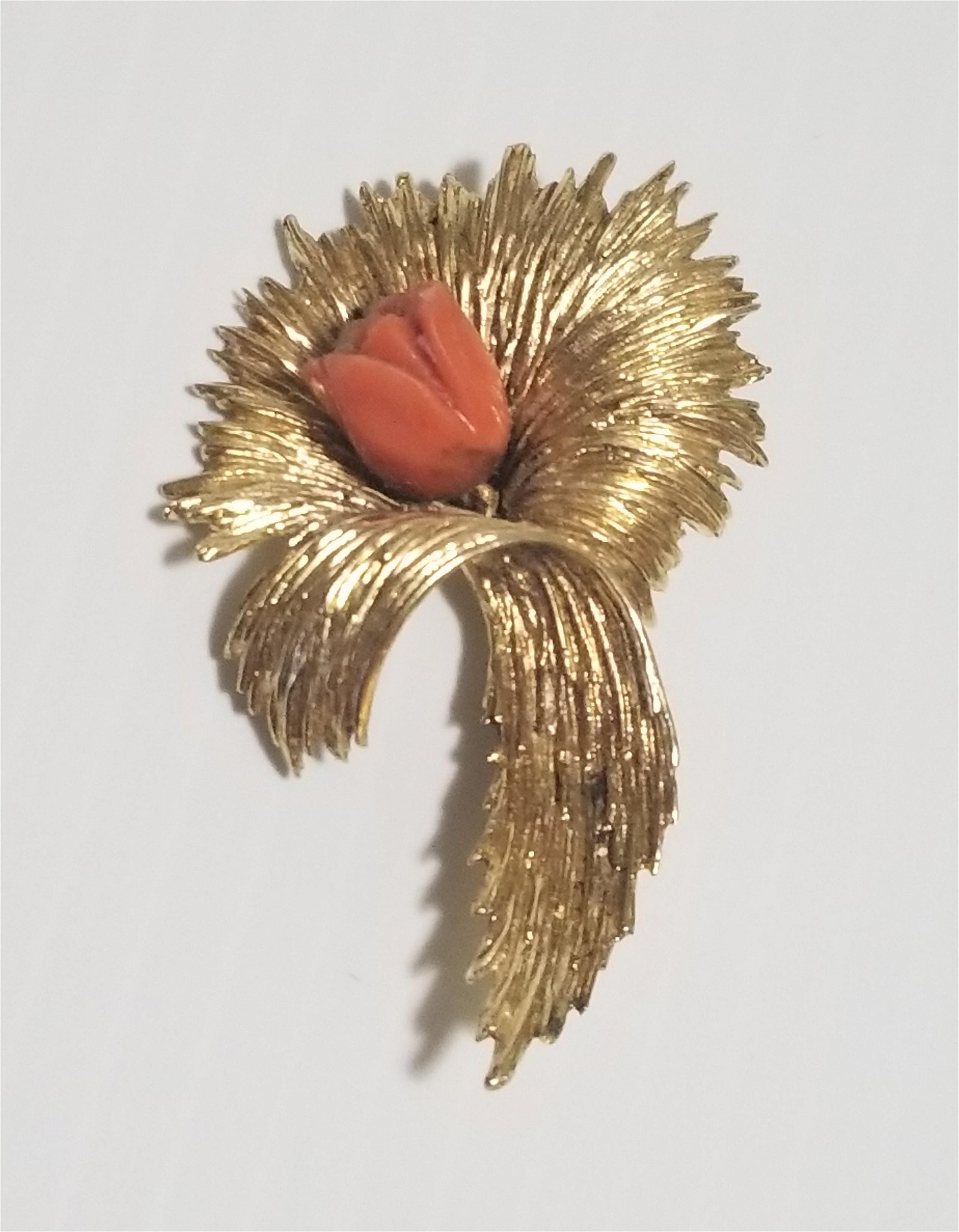 Hand Carved 14 KT Gold and Red Coral Flower Pin