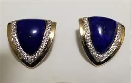 Art Deco Lapis Lazuli Diamonds 14 KT Gold Earrings