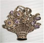 Sterling Silver Amethyst Bezel and Marcasite Pin Brooch