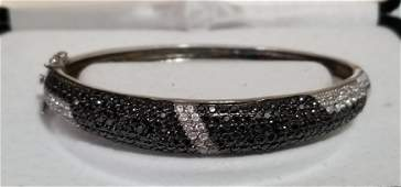 Elegant Sterling Silver Black/Clear Zirconia Diamond
