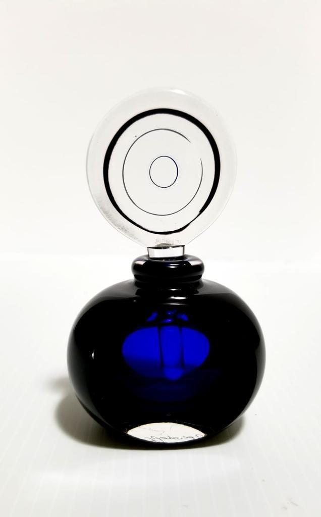Nice Vintage Blue Crystal Signed Perfume Bottle