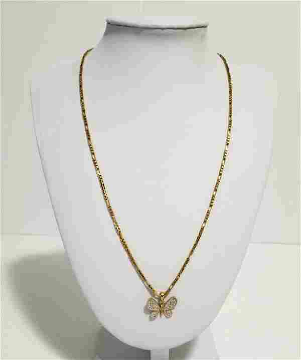 Beautiful 14KT Gold Brev Chain Butterfly Pendant