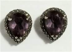 Beautiful 925 Amethyst, Marquesite Earrings