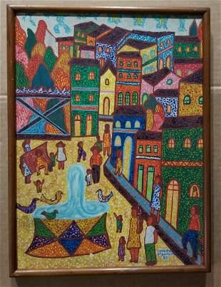 Cicero Brazilian Art Oil Pianting 1983