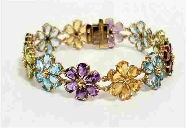 Beautiful 10 KT Multicolores Stones Bracelet