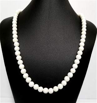 Beautiful 14 KT White Stone Hand Carved Necklace