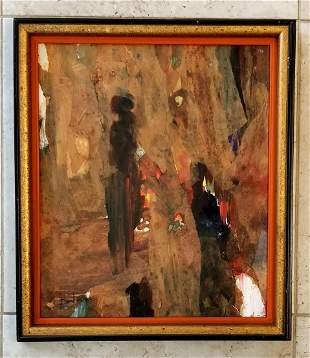 George Bauer Dunbar 1959 Oil and Collage on Board